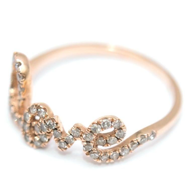Bespoke 14 Karat Gold Diamond Love Ring For Sale 1