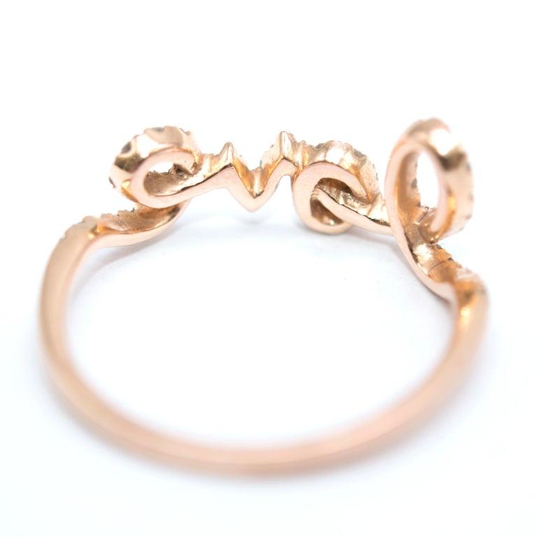 Bespoke 14 Karat Gold Diamond Love Ring For Sale 2