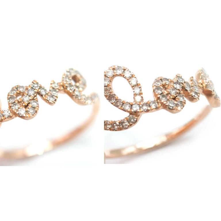 Bespoke 14 Karat Gold Diamond Love Ring For Sale 3