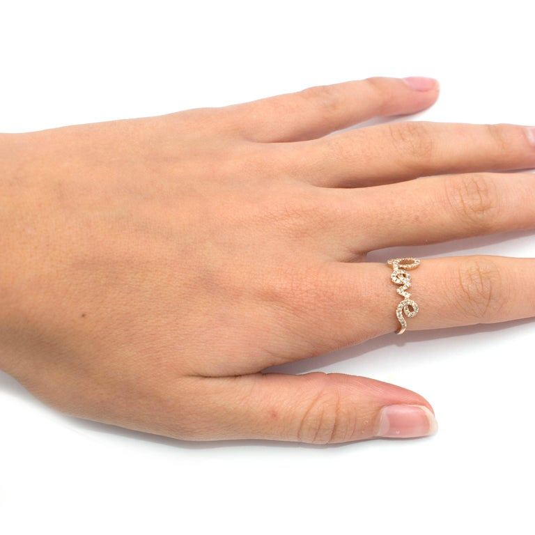 Bespoke 14 Karat Gold Diamond Love Ring For Sale 4