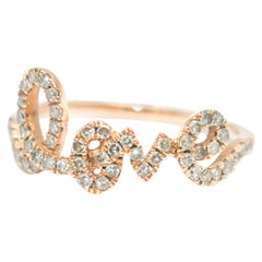 Bespoke 14 Karat Gold Diamond Love Ring