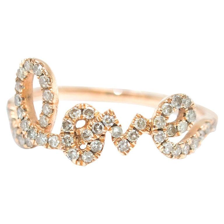 Bespoke 14 Karat Gold Diamond Love Ring For Sale