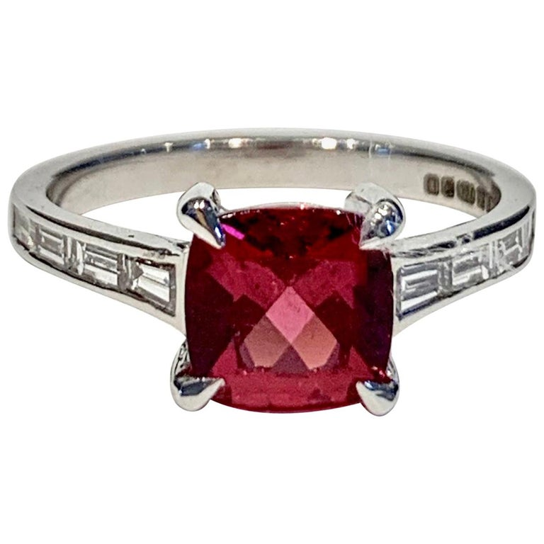 Bespoke 1.50 Carat AAAA Cushion Cut Rubellite and Diamond Ring in 18 Carat Gold For Sale