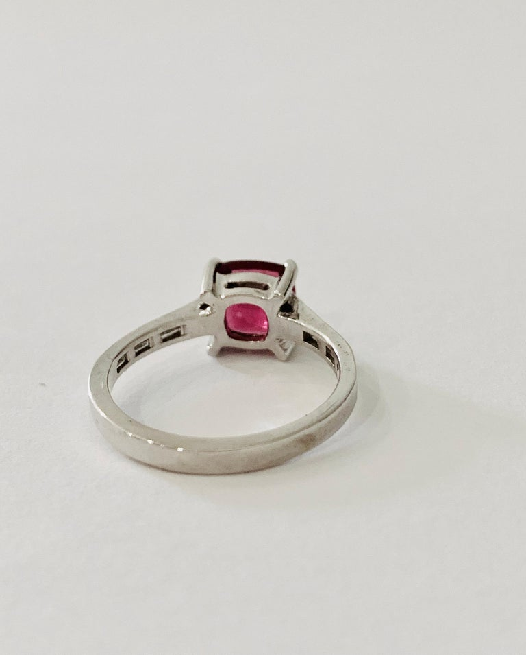 Modern Bespoke 1.50 Carat AAAA Cushion Cut Rubellite and Diamond Ring in 18 Carat Gold For Sale