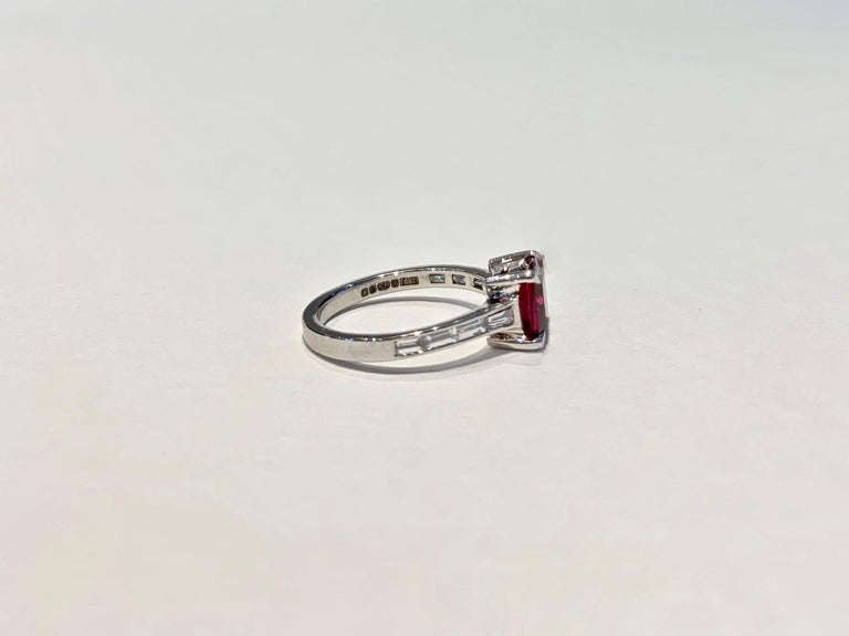 Women's Bespoke 1.50 Carat AAAA Cushion Cut Rubellite and Diamond Ring in 18 Carat Gold For Sale