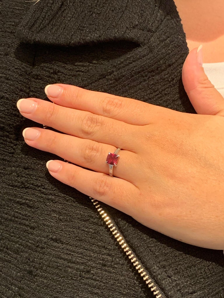 Bespoke 1.50 Carat AAAA Cushion Cut Rubellite and Diamond Ring in 18 Carat Gold For Sale 1