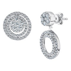 Bespoke 18 Karat 1.00 Carat Round Brilliant Diamond Cluster Drop Studs Earrings