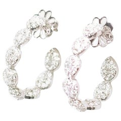 Bespoke 18 Karat White Gold Diamond Hoop Earrings