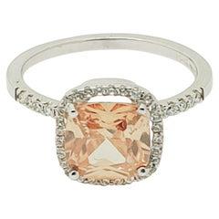 Bespoke 18 Karat White Gold Zircon Diamond Ring