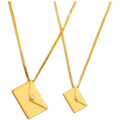 Bespoke 18K Yellow Gold Large Love Letter Pendant Necklace