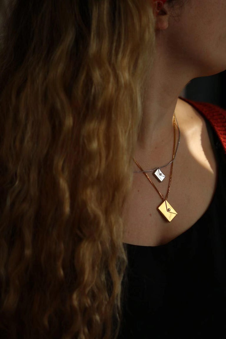 Bespoke 18K Yellow Gold Small Love Letter Pendant Necklace For Sale 5