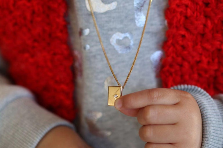 Bespoke 18K Yellow Gold Small Love Letter Pendant Necklace For Sale 8