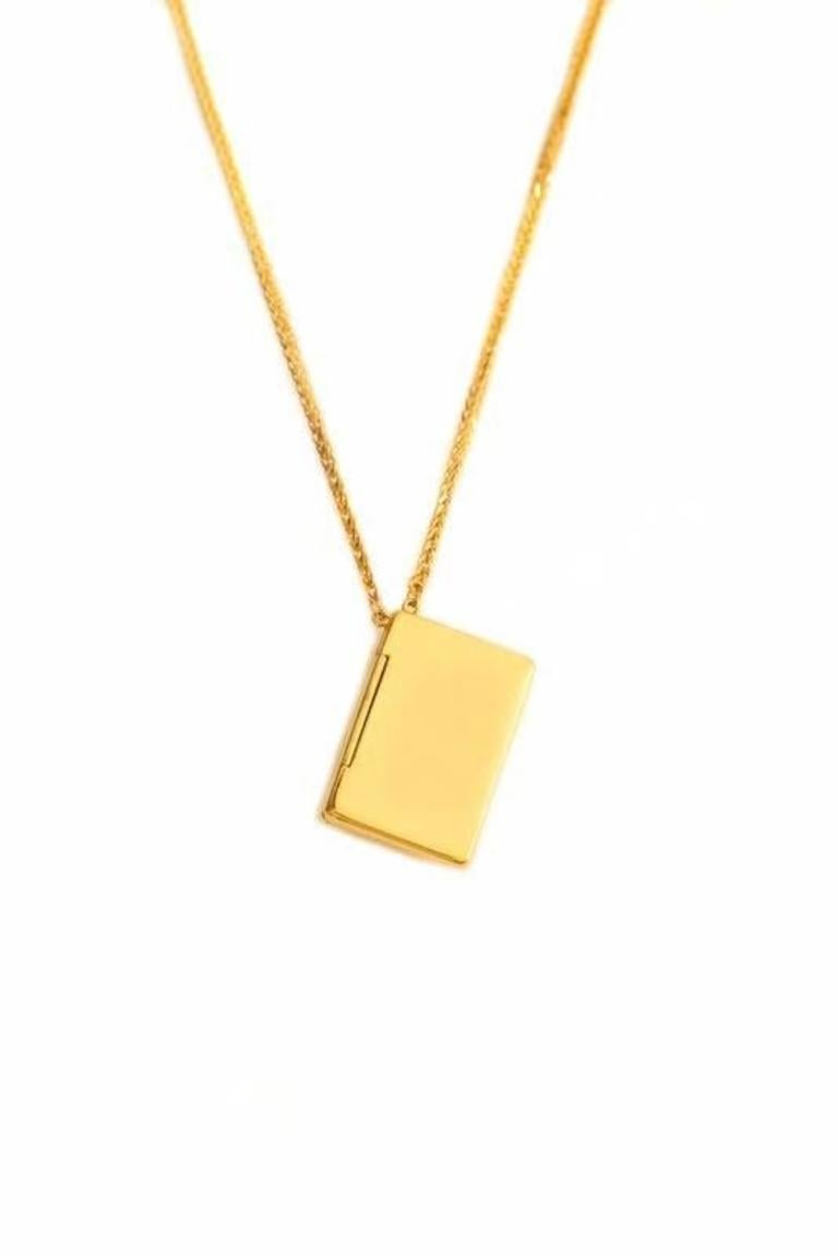 Contemporary Bespoke 18K Yellow Gold Small Love Letter Pendant Necklace For Sale