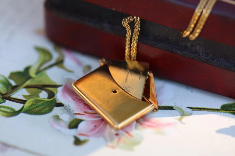 Women's or Men's Bespoke 18K Yellow Gold Small Love Letter Pendant Necklace For Sale