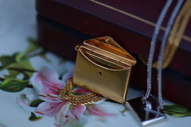 Bespoke 18K Yellow Gold Small Love Letter Pendant Necklace For Sale 1