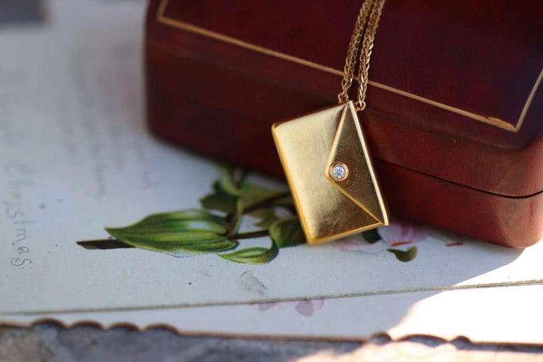 Bespoke 18K Yellow Gold Small Love Letter Pendant Necklace For Sale 2