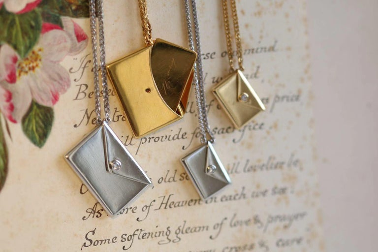 Bespoke 18K Yellow Gold Small Love Letter Pendant Necklace For Sale 4