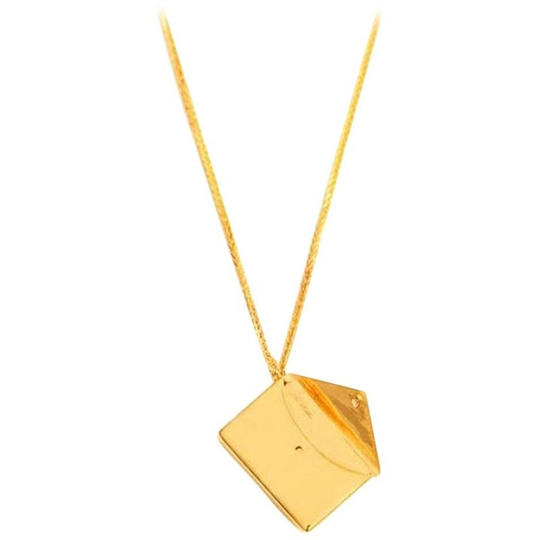 Bespoke 18K Yellow Gold Small Love Letter Pendant Necklace For Sale