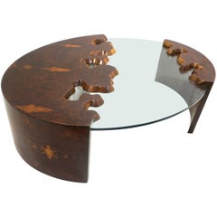 Bespoke 1980 Italian Organic Walnut Veneer & Glass Oval Coffee Table with Drawer