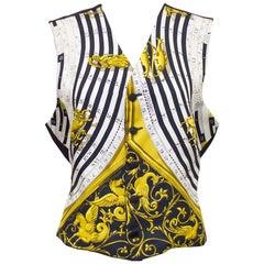 Bespoke 1980s Black and Gold Astrologie Dies et Hore Hermes Scarf Vest