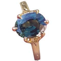 Bespoke 2.12 Carat Green Sapphire Engagement Ring