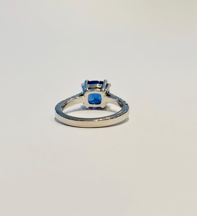 Women's Bespoke 2.69ct AAAA Cushion Cut Tanzanite and Diamond Ring in 18ct White Gold For Sale