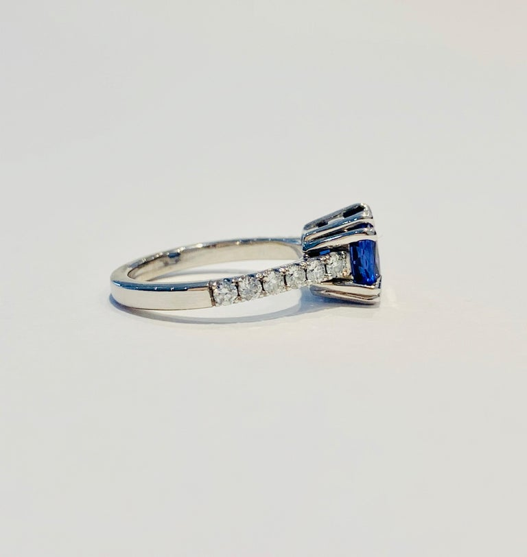 Bespoke 2.69ct AAAA Cushion Cut Tanzanite and Diamond Ring in 18ct White Gold For Sale 1
