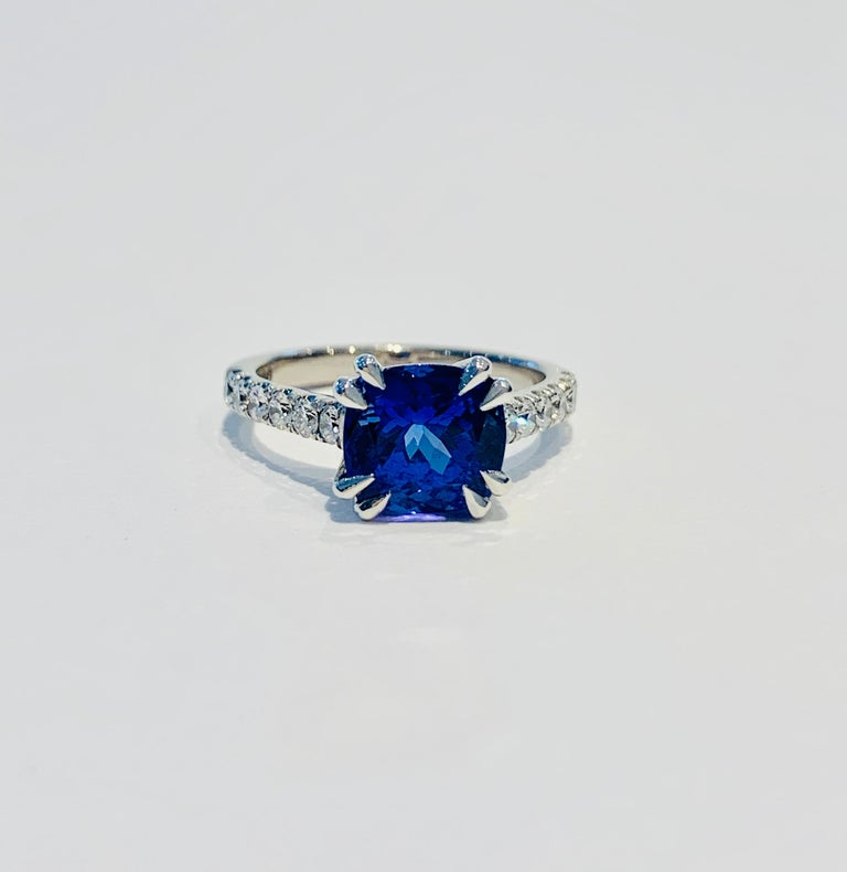 Bespoke 2.69ct AAAA Cushion Cut Tanzanite and Diamond Ring in 18ct White Gold For Sale 3