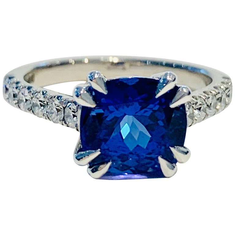 Bespoke 2.69ct AAAA Cushion Cut Tanzanite and Diamond Ring in 18ct White Gold For Sale