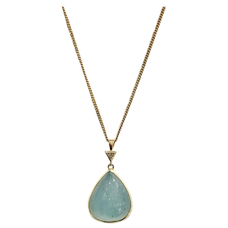 Bespoke 30 Carat Pear Cut Cabochon Aquamarine and Diamond Pendant 18 Carat Gold For Sale