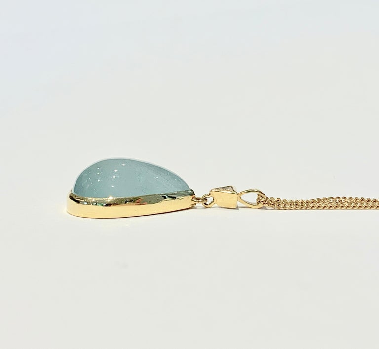 Modern Bespoke 30 Carat Pear Cut Cabochon Aquamarine and Diamond Pendant 18 Carat Gold For Sale