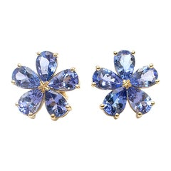 Bespoke 3.70 Carat Tanzanite Floral Earrings in Yellow Gold