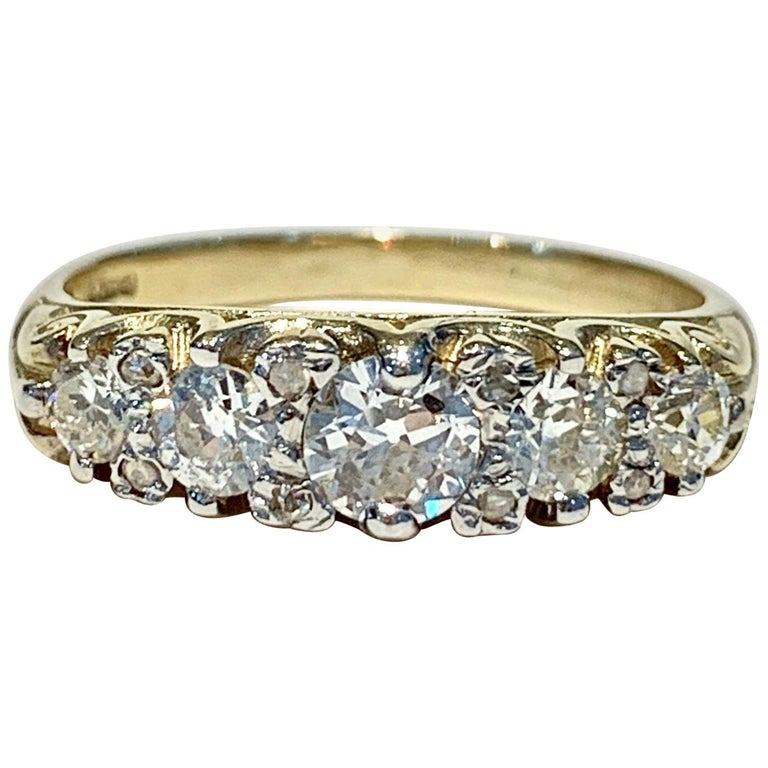 Bespoke 5-Stone Ring Set with 1.30 Carat Old Cut Diamonds in 18 Carat Gold For Sale