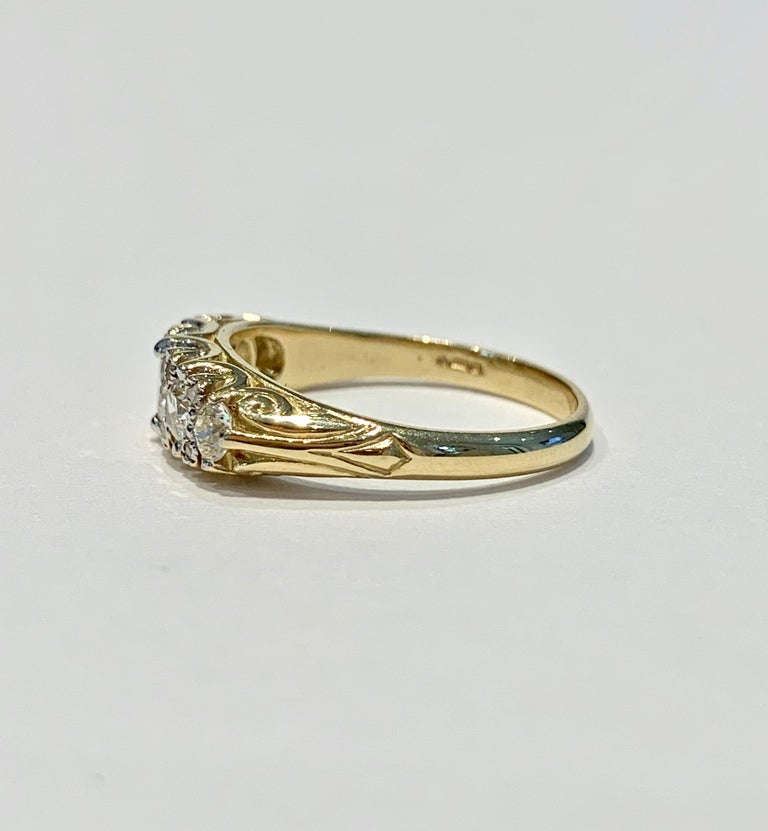 Edwardian Bespoke 5-Stone Ring Set with 1.30 Carat Old Cut Diamonds in 18 Carat Gold For Sale