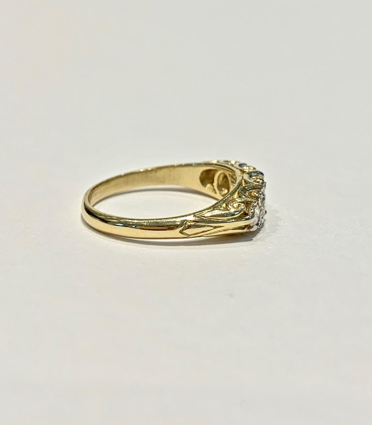 Old European Cut Bespoke 5-Stone Ring Set with 1.30 Carat Old Cut Diamonds in 18 Carat Gold For Sale