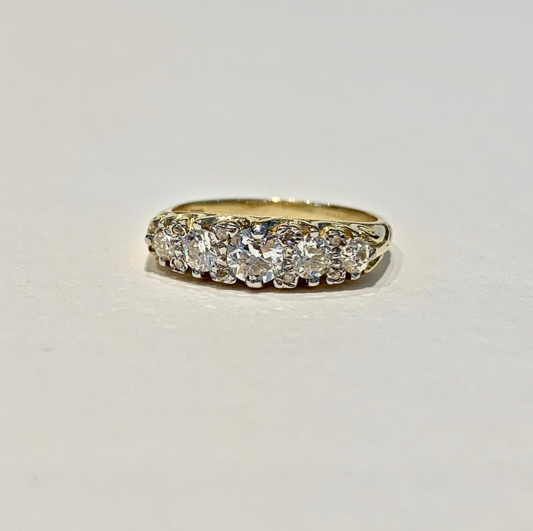 Bespoke 5-Stone Ring Set with 1.30 Carat Old Cut Diamonds in 18 Carat Gold In New Condition For Sale In Chislehurst, Kent