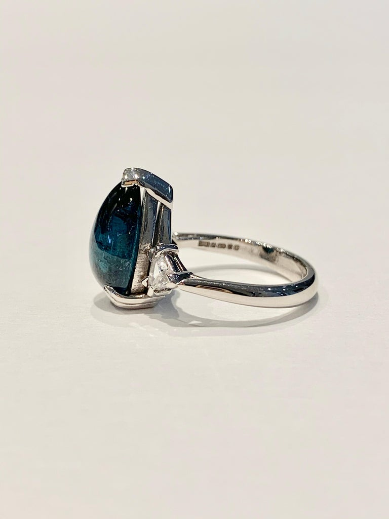 Modern Bespoke 5.27ct Blue Tourmaline Pear Cut Cabochon Diamond Ring in 18ct White Gold For Sale