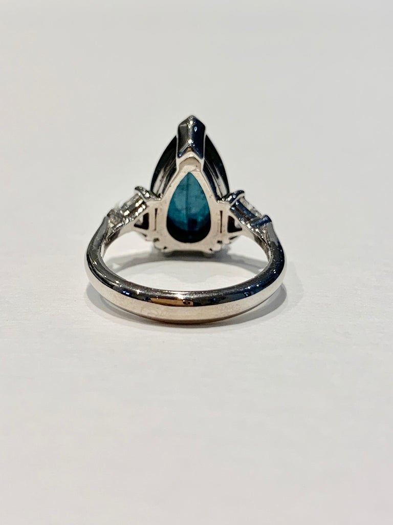 Bespoke 5.27ct Blue Tourmaline Pear Cut Cabochon Diamond Ring in 18ct White Gold In New Condition For Sale In Chislehurst, Kent