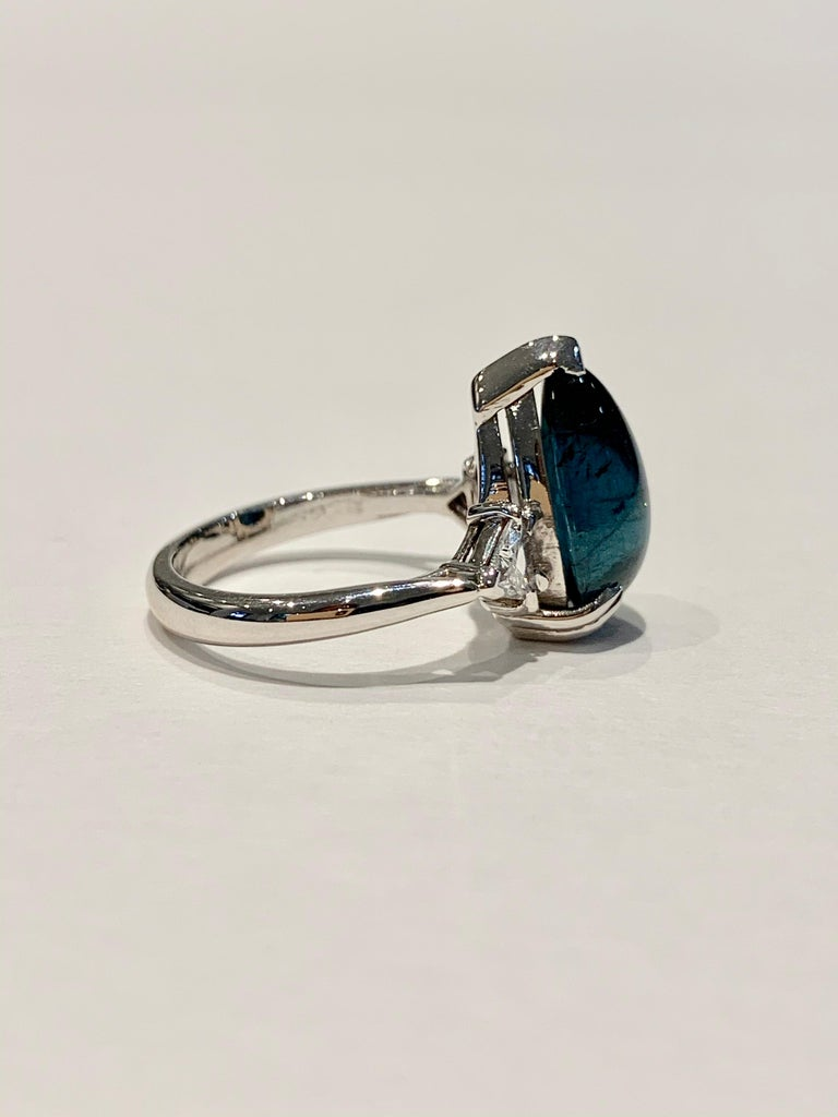 Women's Bespoke 5.27ct Blue Tourmaline Pear Cut Cabochon Diamond Ring in 18ct White Gold For Sale
