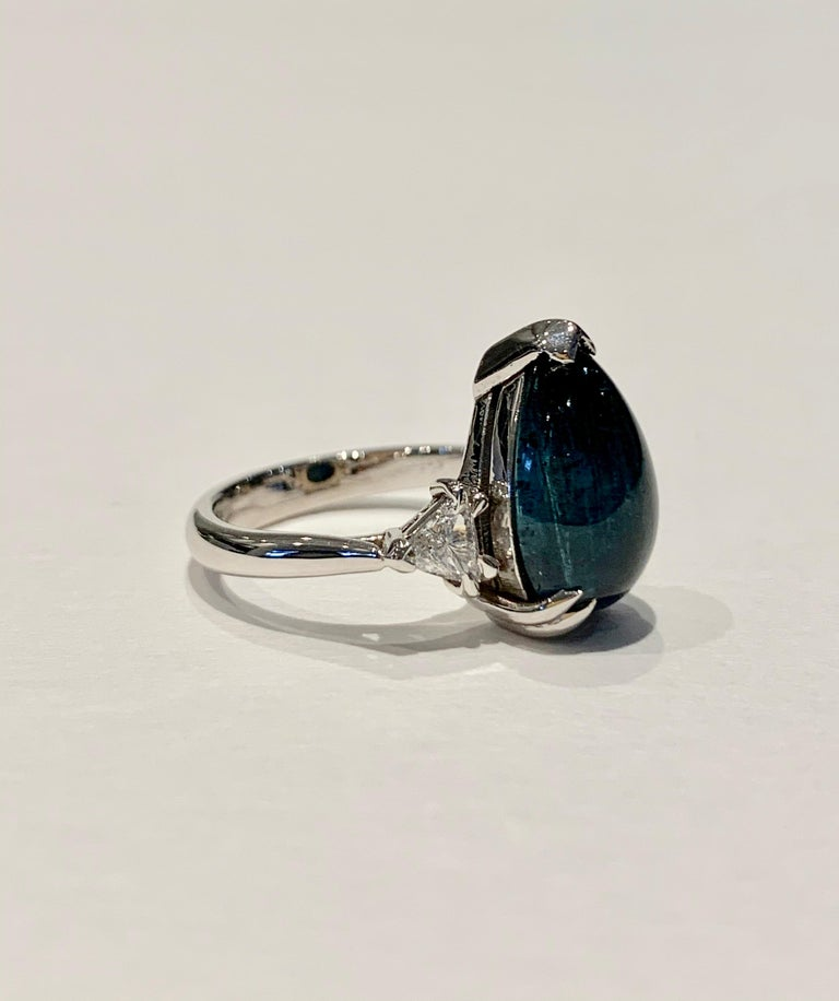 Bespoke 5.27ct Blue Tourmaline Pear Cut Cabochon Diamond Ring in 18ct White Gold For Sale 1