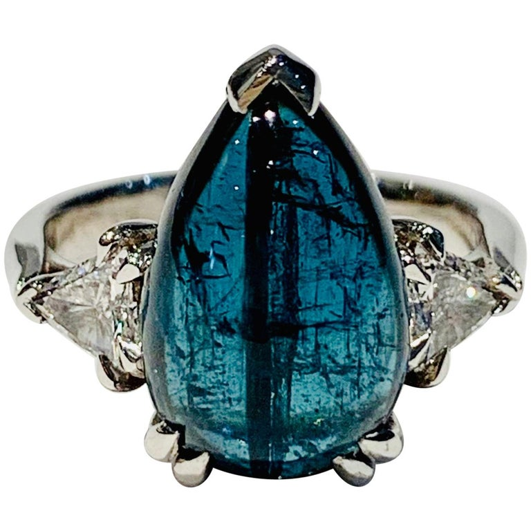 Bespoke 5.27ct Blue Tourmaline Pear Cut Cabochon Diamond Ring in 18ct White Gold For Sale