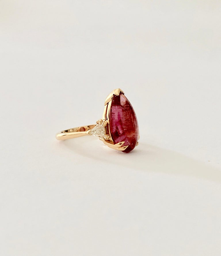 Bespoke 5.79 Carat Pink Pear Cut Cabochon Tourmaline and Diamond Ring For Sale 1
