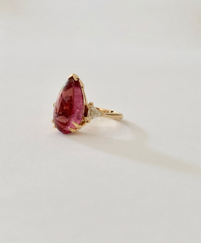 Bespoke 5.79 Carat Pink Pear Cut Cabochon Tourmaline and Diamond Ring For Sale 2