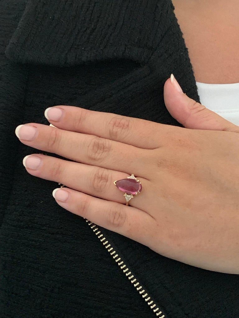 Bespoke 5.79 Carat Pink Pear Cut Cabochon Tourmaline and Diamond Ring For Sale 3