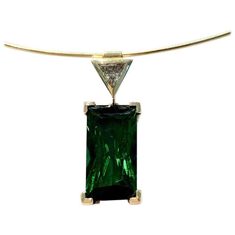 Bespoke 6.10ct Octagon Cut Green Tourmaline Diamond Pendant on 18ct Neck Wire For Sale