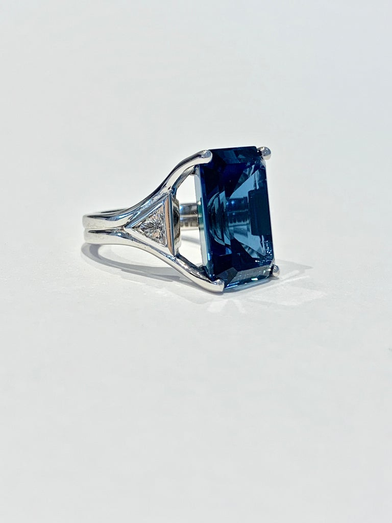 Women's Bespoke 7.20ct Octagon Cut London Blue Topaz and Diamond Ring in 18ct White Gold For Sale