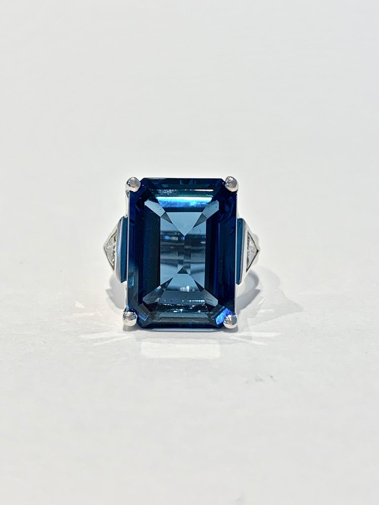 Bespoke 7.20ct Octagon Cut London Blue Topaz and Diamond Ring in 18ct White Gold For Sale 2
