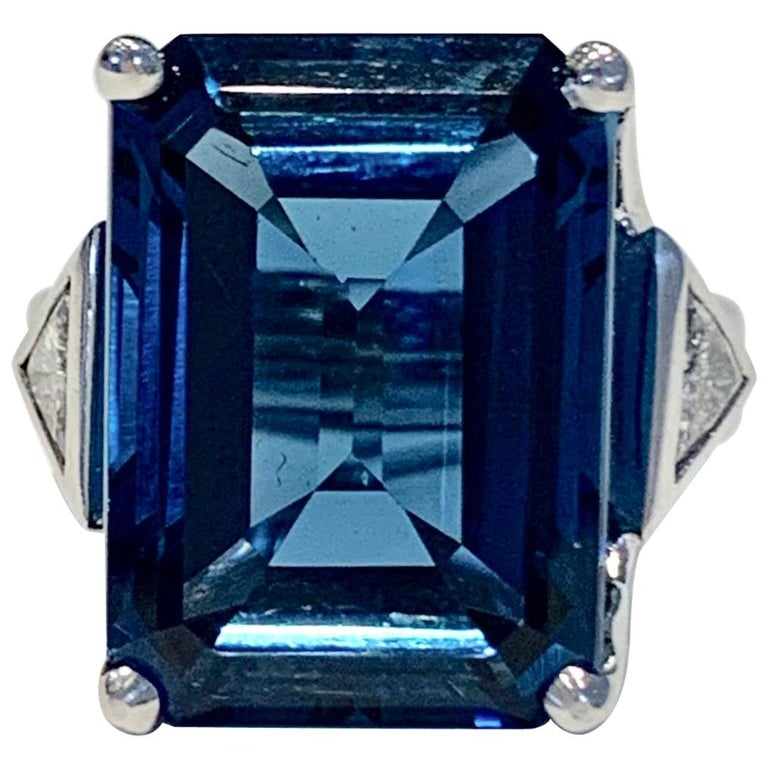 Bespoke 7.20ct Octagon Cut London Blue Topaz and Diamond Ring in 18ct White Gold For Sale