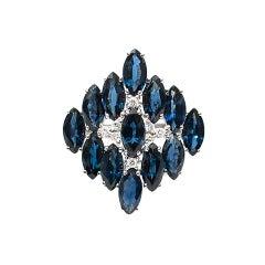 Bespoke 7.75 Carat Sapphire and 0.10 Carat Diamond White Gold Ring