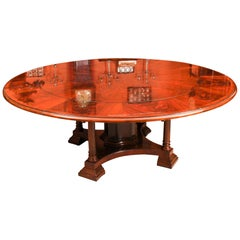 Bespoke Diameter Flame Mahogany Jupe Dining Table & Leaf Holder 21st Century